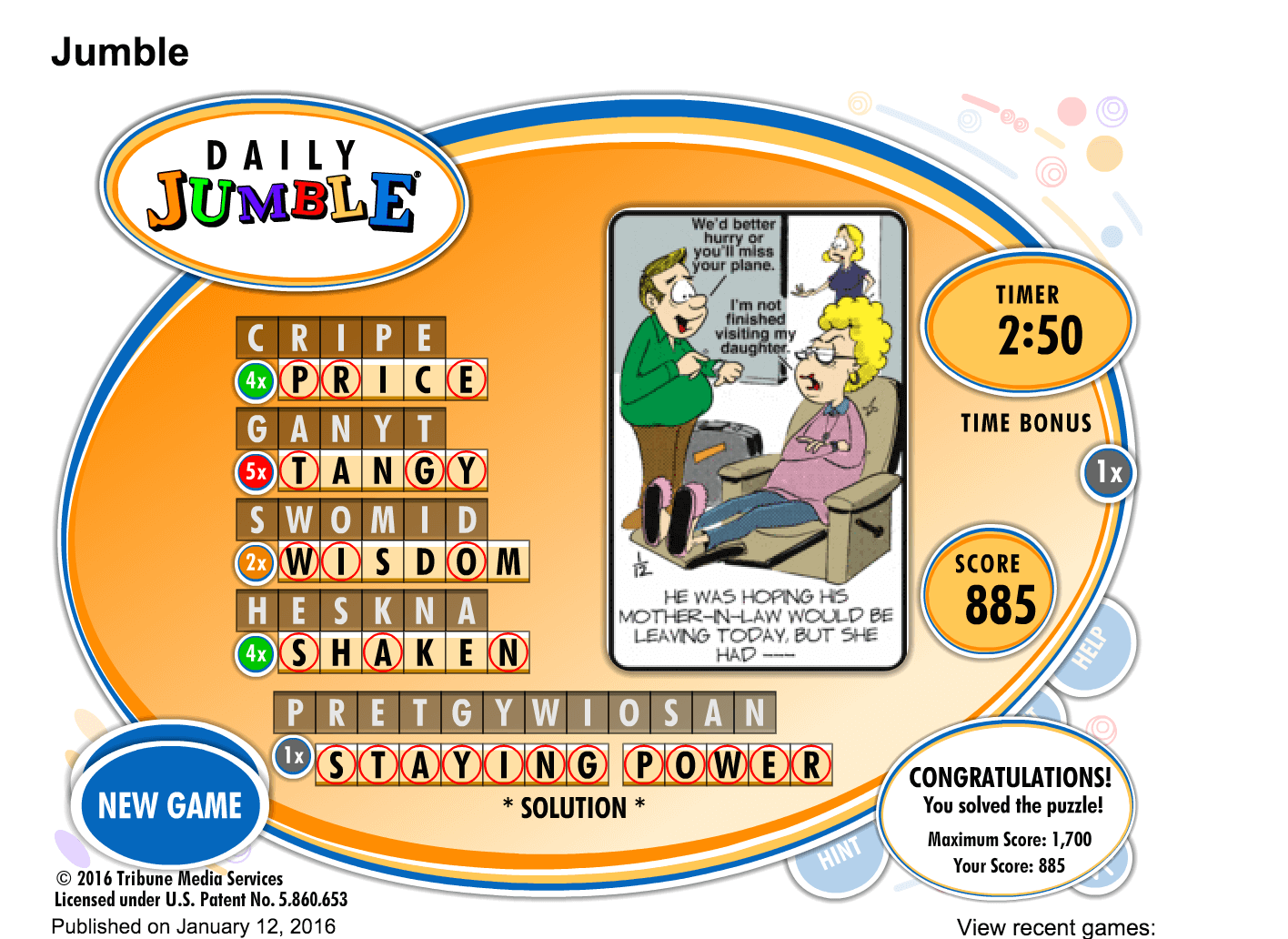 Today's Jumble! game