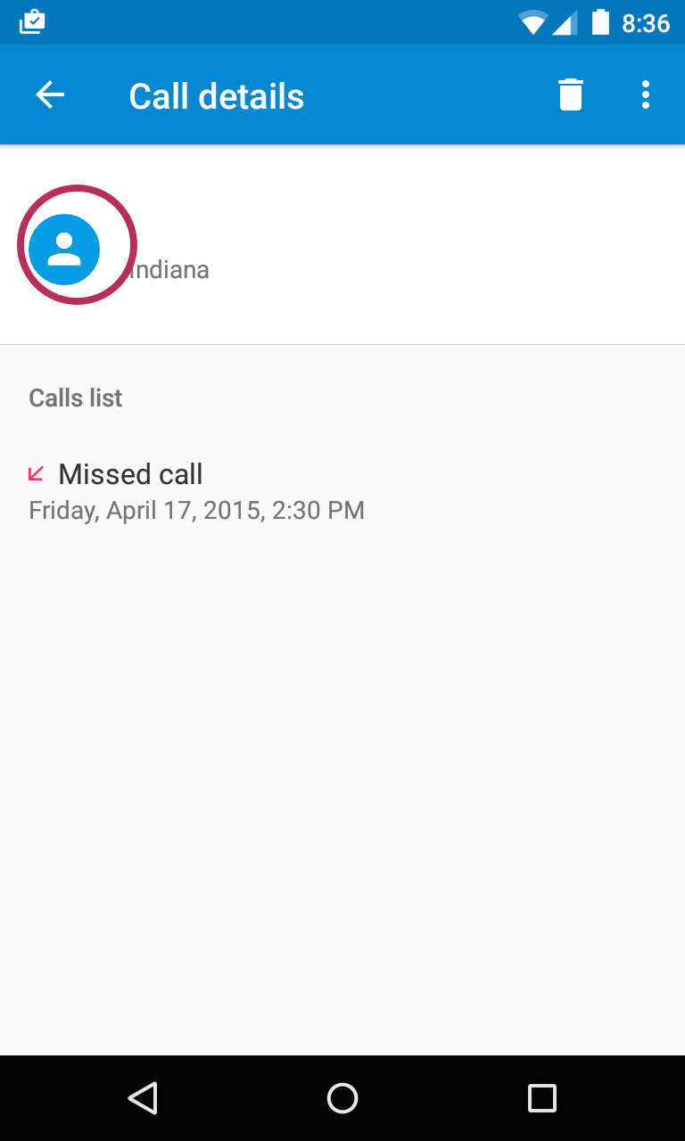 Call details screen showing missed calls